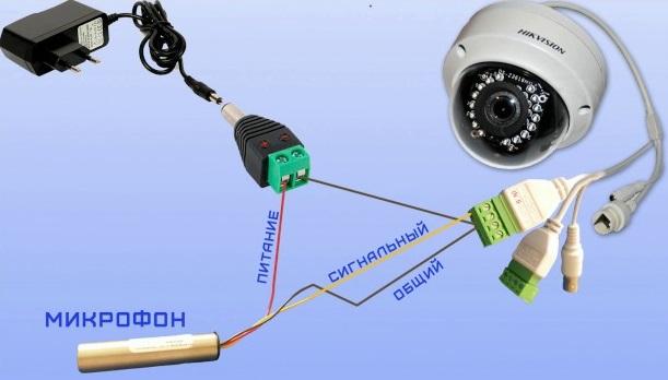 Схема подключения видеокамеры к микрофончику