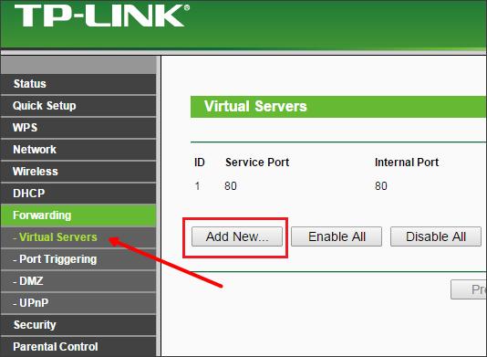 tp-link -проброс портов