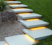 Бетонная лестница в саду: дизайн и обустройство